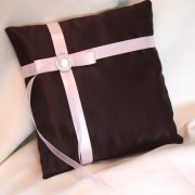 Chocolate Brown Satin w/ Pale Pink Pillow