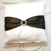 Ivory Satin Pillow w/ Chocolate Brown Sash