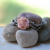 Pink Rose and Grey Pearl Double Strand Pearl Bracelet