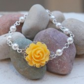 Yellow Rose and Pearl Bracelet