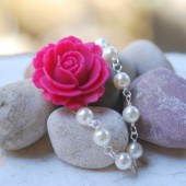 Pink Rose and White Pearl Necklace