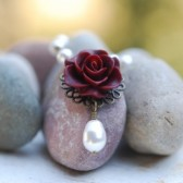 Burgundry Rose and White Pearl Necklace