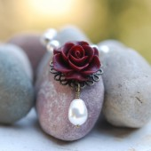 Burgundy Rose and Pearl Teardrop Necklace