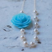 Blue Rose and White Pearl Asymmetrical Beaded Necklace