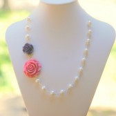 Pink and Purple Rose Cabochon Necklace with White Swarovski Pearls
