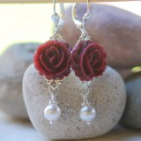 Burgundy Rose and White Pearl Earrings