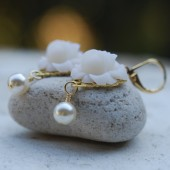 Ivory Rose and Pearl Earrings