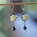Ivory Flower and Navy Pearl Earrings