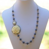 Vintage Style Ivory Flower and Navy Pearl Beaded Asymmetrical Necklace