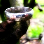 Personalised Chunky Hammered Ring (With your words)