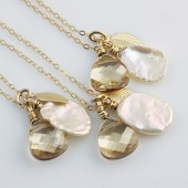 Bridal Party Gifts, Set of 3, Golden Fall Necklaces on 14k Gold Filled