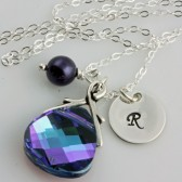 Monogrammed After Midnight Swarovski Crystal and Dark Purple Pearl Necklace on Sterling Silver