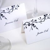 Black and White Blossoms Escort Card
