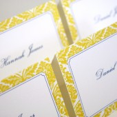 Yellow Damask Escort Card