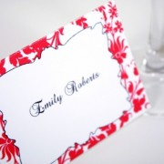 Red Floral Escort Card