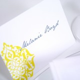 Gray and Yellow Damask Escort Card