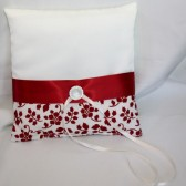 Ivory Satin w/ Red Floral Pillow