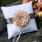 White Ring Pillow w/ Floral Brooch