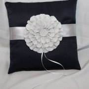 Navy Satin & Silver Pillow