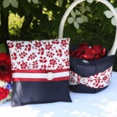 Ivory, Red & Navy Flower Girl Basket