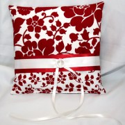 Red & Cream Floral Pillow