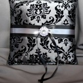 Steel Gray & Black Damask Pillow