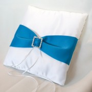 White Satin Pillow w/ Turquoise Sash