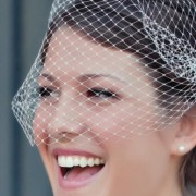 Ivory Bridal Birdcage Veil / Blusher / Bandeau Style 9 inch wide and 18 inch long by Mauve Binchely