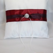 White Satin Pillow w/ Wine & Aubergine