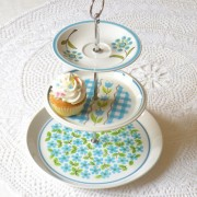 Blue Green Mod Retro Cupcake Stand