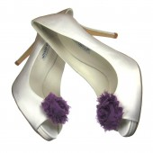 Purple chiffon shoe clips