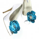 Magnetic Rhinestone Blue Flower Shoe Clips