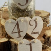 Unfinished wooden table numbers