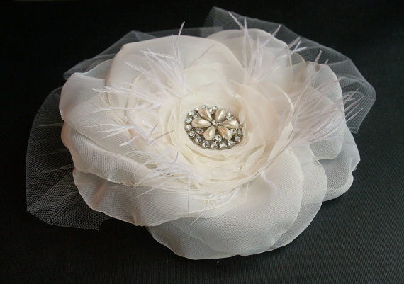 Ivory Bridal Hair Flower and Veil