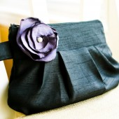 Gathered Clutch in Black & Purple