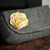 Emma Clutch in Mustard & Gray