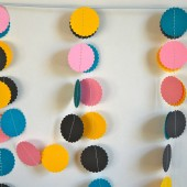 Pink, Teal, Yellow, and Grey Paper Garland
