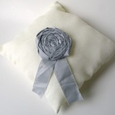 Cream linen wedding ring pillow with grey rosette