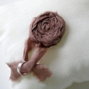 Cream linen wedding ring pillow with brown rosette