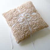 White linen wedding ring pillow with tea dyed doily