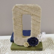 Burlap Cake Topper and wedding monogram