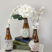 Vintage glass vase trio with burlap, lace and flower details