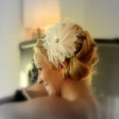 Light Pink Feather, Rhinestone and Crystal Comb and Fascinator