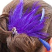 Purple Rhinestone Feather Veil Comb and Fascinator