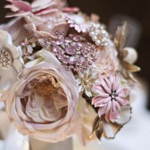 Silk Flower and Vintage Brooch Bouquet
