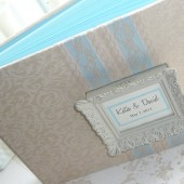 Custom Wedding Guest Book with Framed Monogram!