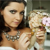 Fabric Flower, Burlap and Brooch Bouquet