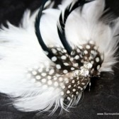 Striking Black and White Feather Veil Comb and Fascinator