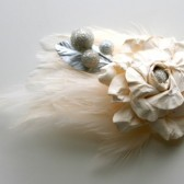 Ivory Rose Veil Comb and Fascinator with Feather Accents