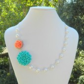 Turquoise Mum and Coral Rose Asymmetrical Necklace with White Swarovski Pearls